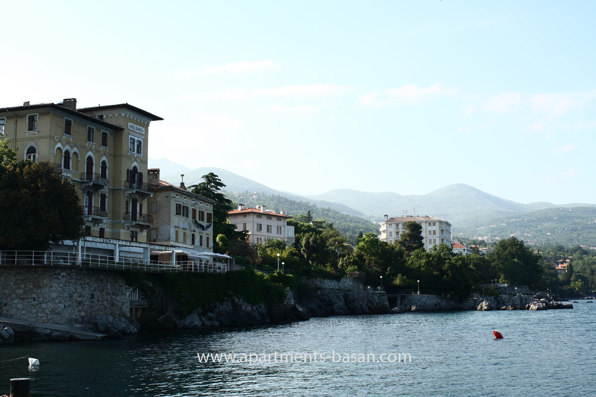 Lovran, Croatian coast promenade sea view
